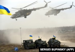 UKRAINE – Ukrainian army helicopters during a drillin the Zhytomyr regio on November 21, 2018.