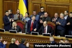 UKRAINE -- Radical party leader Oleh Lyashko (C) attends a parliament session, in Kyiv, November 26, 2018.