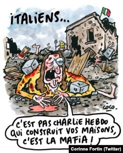 "Charlie Hebdo cartoon, captioned: ""Italians, it is not Charlie Hebdo that built your homes, it's the mafia!"""
