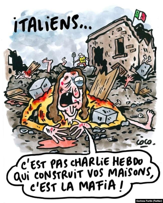 "Charlie Hebdo cartoon, captioned: ""Italians, it is not Charlie Hebdo that built your homes, it's the mafia!"""