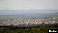 A general view shows Khan Sheikhoun in the southern countryside of Idlib, on March 16, 2015.