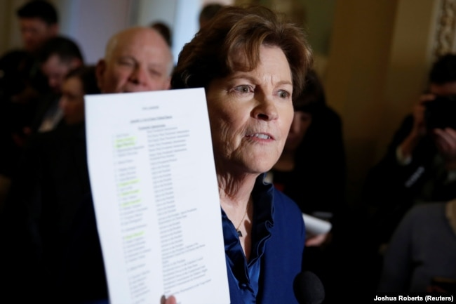 U.S. -- Senator Jeanne Shaheen (D-NH) speaks about the U.S. President's decision not to impose sanctions on Russia during a media briefing on Capitol Hill in Washington, January 30, 2018.
