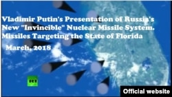 Screenshot of the animated demo with the Image of Florida as a target of Russian misslies, as presented during Vladimir Putin's address.