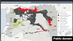 IHS Conflict Monitor service's map of ISIS-controlled territory in 2015