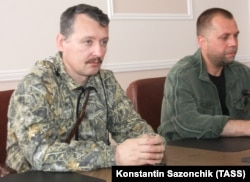 "UKRAINE – Ukraine – Citizens of Russia, Col. Igor Girkin (also known as Igor Strelkov) and Alexander Boroday (R) - the leaders of the group ""DPR"", which in Ukraine is recognized as a terrorist. Occupied Donetsk, July 10, 2014"