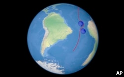 A computer simulation shows the flight of a prospective Russian nuclear-powered cruise missile en route to target.