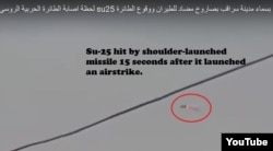Su-25 hit by shoulder-launched missile 15 seconds after it launched an airstrike.