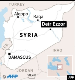Map of Syria locating Deir Ezzor