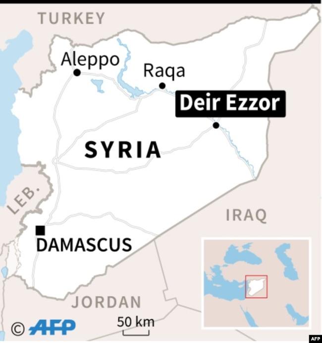 Map of Syria locating Deir Ezzor