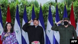 NICARAGUA – Daniel Ortega, his wife and Vice President Rosario Murillo and Army Chief Julio Cesar Aviles during the 41st anniversary of the Nicaraguan Army, September 2, 2020.