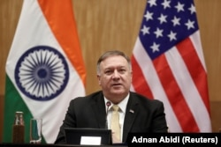 INDIA -- U.S. Secretary of State Mike Pompeo speaks during a joint news conference with India's Foreign Minister Subrahmanyam Jaishankar after a meeting in New Delhi, India, June 26, 2019.