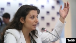 RT's Chief Editor Margarita Simonyan at a round table discussion in Moscow, March 31, 2015.