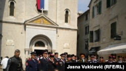 Montenegro - Cossacks and bikers in leather jackets in front of the church of St. Nicholas in Kotor from Russia, pro-Russian part of Ukraine, Serbia and Montenegro, where they devoutly listened to the liturgy of Kotor Serbian Orthodox Church