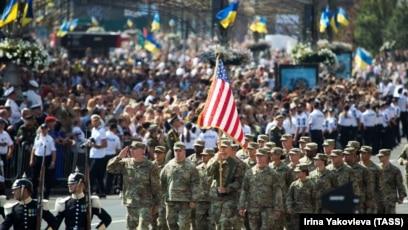 U.S. servicemen during a military parade dedicated to the 30th anniversary of Ukraine's Independence, Kyiv, August 24, 2021. (Irina Yakovleva/TASS)