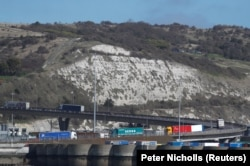 Freight traffic arrives at and departs from the Port of Dover in Britain, March 17, 2020.