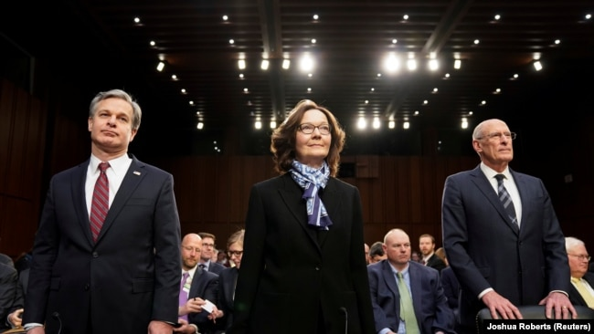 "U.S. -- FBI Director Christopher Wray; CIA Director Gina Haspel and Director of National Intelligence Dan Coats arrive with other U.S. intelligence community officials to testify before a Senate Intelligence Committee hearing on ""worldwide threats."""