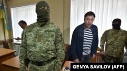 UKRAINE – Ukrainian-Russian Journalist Kyrylo Vyshynsky is pictured during a court hearing, Kherson, May 17, 2018