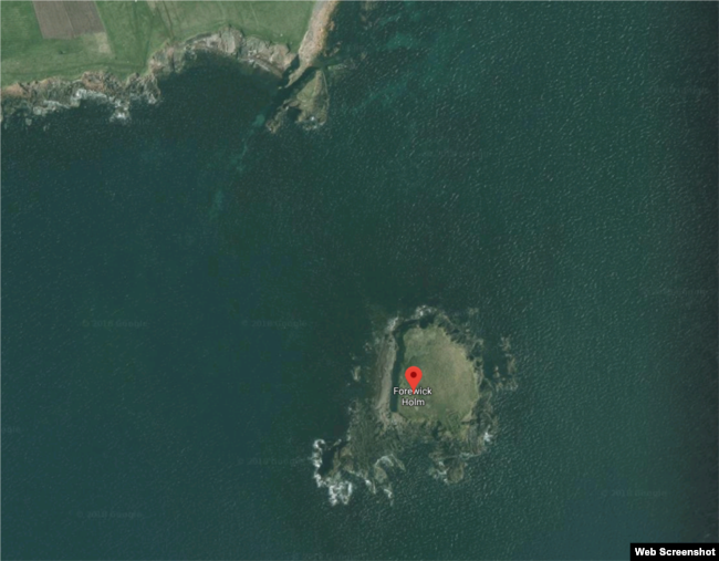 Forewick Holm, also known as Forvik Island, in reality