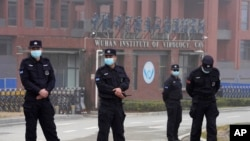 Security personnel gather near the entrance of the Wuhan Institute of Virology during a visit by the World Health Organization team in Wuhan on February 3, 2021. (Ng Han Guan/AP)