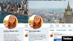 Official Twitter accounts of the Russian Foreign Ministry and Russian Mission to the UN with photograph of Maria Butina as their profile picture