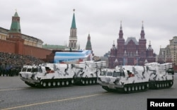 Russia -- Russian TOR-M2 tactical surface-to-air missile systems Arctic edition ride through Red Square during the Victory Day military parade in Moscow, May 9, 2017