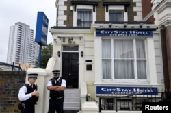 U.K. -- Police officers stand outside the City Stay Hotel used by Anatoliy Chepiga and Alexander Mishkin, who have been accused of attempting to murder former Russian spy Sergei Skripal and his daughter Yulia; in London, September 5, 2018