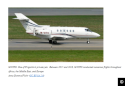 "A screen capture of ""Putin's Chef,"" Yevgeniy Prigozhin's private jet with the tail number M-VITO, which was sanctioned over the Russian businessman's alleged efforts to influence the 2018 U.S. midterm elections. Image from: https://home.treasury.gov/news/press-releases/sm787"
