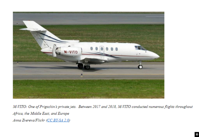 """A screen capture of """"Putin's Chef,"""" Yevgeniy Prigozhin's private jet with the tail number M-VITO, which was sanctioned over the Russian businessman's alleged efforts to influence the 2018 U.S. midterm elections. Image from: https://home.treasury.gov/news/press-releases/sm787"""