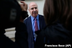 SPAIN -- William Browder, a U.S-born Britain-based financier, talks to the Associated Press' reporters after leaving the anti-graft prosecutor's office in Madrid, May 30, 2018.
