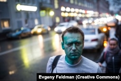 Russia -- Alexei Navalny after being attacked with green dye in 2017.