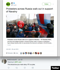 RT's single Tweet about protests in Russia on January 28, 2019