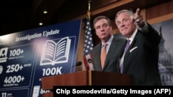 U.S. -- Senate Intelligence Committee Chairman Richard Burr (R-NC) (R) and committee Vice Chair Mark Warner (D-VA) hold a news conference on the status of the committee's inquiry into Russian interference in the 2016 presidential election at the U.S. Capitol.