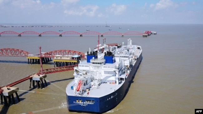 CHINA -- The Vladimir Rusanov, a liquefied natural gas (LNG) tanker ship, is seen following its arrival at the LNG terminal in Nantong city, eastern China's Jiangsu province, July 19, 2018