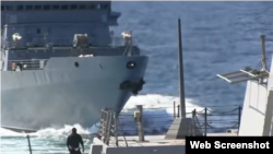 Video showing a Russian vessel closing with the USS Farragut, a U.S. Navy destroyer