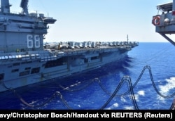 The U.S. Navy aircraft carrier USS Nimitz in the South China Sea on July 7, 2020.