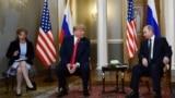 FINLAND -- Russian President Vladimir Putin (R) and U.S. President Donald Trump (2L) attend a meeting in Helsinki, July 16, 2018