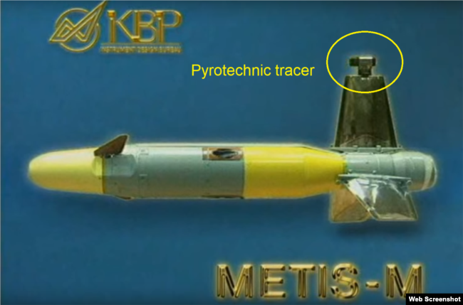 A close-up of the Metis-M anti-tank missile