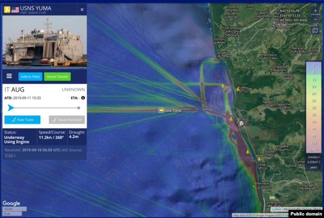 A screenshot of a live map via Marinetraffic.com placing USNS Yuma near the port of Poti, Georgia in the Black Sea