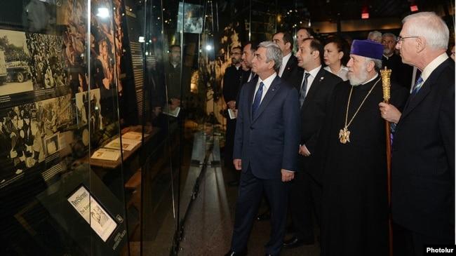 US/Armenia - Armenian President Serzh Sarkisian and Catholicos of All Armenians Garegin II visit the Holocaust Museum in Washington, 06May,2015