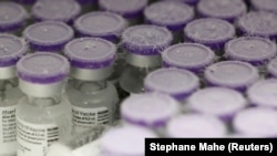 Vials of the Pfizer-BioNTech Covid-19 vaccine are pictured in an ultra low temperature freezer at the hospital in Le Mans, as part of the coronavirus disease (COVID-19) vaccination campaign in France, January 14, 2021.