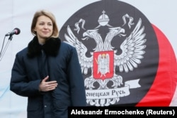 UKRAINE -- Russian member of parliament and Crimea's former Chief Prosecutor Natalia Poklonskaya attends grounds of the park ceremony in the separatist-held settlement of Makiivka outside Donetsk, March 22, 2019.