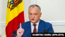 MOLDOVA -- The President of Moldova Igor Dodon gestures at a press conference about the results of the first 18-month of his presidential mandate, at State Residence in Chisinau, Moldova, July 3, 2018
