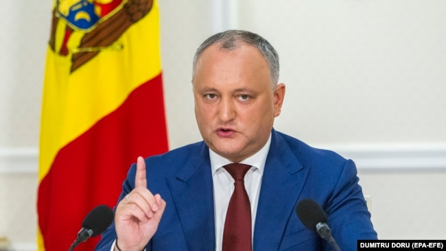MOLDOVA -- The President of Moldova Igor Dodon gestures at a press conference about the activity results for the first 18-month of his presidential mandate, at State Residence in Chisinau, Moldova, July 3, 2018