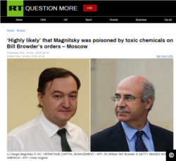 Screen capture of RT story claiming it was 'highly likely' Bill Browder had Sergei Magnitsky poisoned.