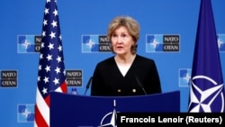 BELGIUM -- U.S. Ambassador to NATO Kay Bailey Hutchison accused Russia of violating the intermediate nuclear missile treaty at a NATO defense ministers meeting in Brussels, October 2, 2018.