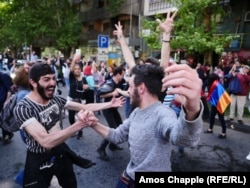 ARMENIA -- An anti-government rally in central Yerevan, April 23, 2018 -- A huge impromptu street party broke out on Mashtots, the main avenue of Yerevan today after Prime Minister Sarkisian announced his resignation after days of protests.