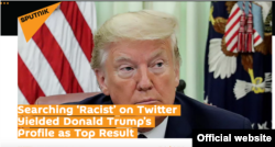 A screenshot of the Russian state-owned Sputnik news agency front page report on June 4, 2020.