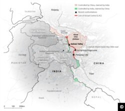 "A map taken from the article, ""India-China border clash explained"", published in the South China Morning Post on July 2, 2020."