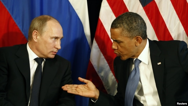 Mexico -- U.S. President Barack Obama meets with Russian President Vladimir Putin in Los Cabos, June 18, 2012