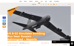 A Sputnik article from October 24, 2019, claiming a US bomber had approached Russia's borders and carried out a bombing simulation.